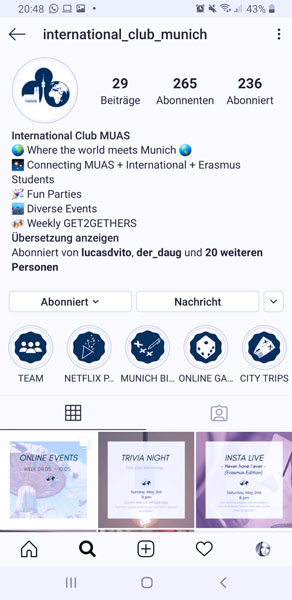 Instagram Account International Club München
