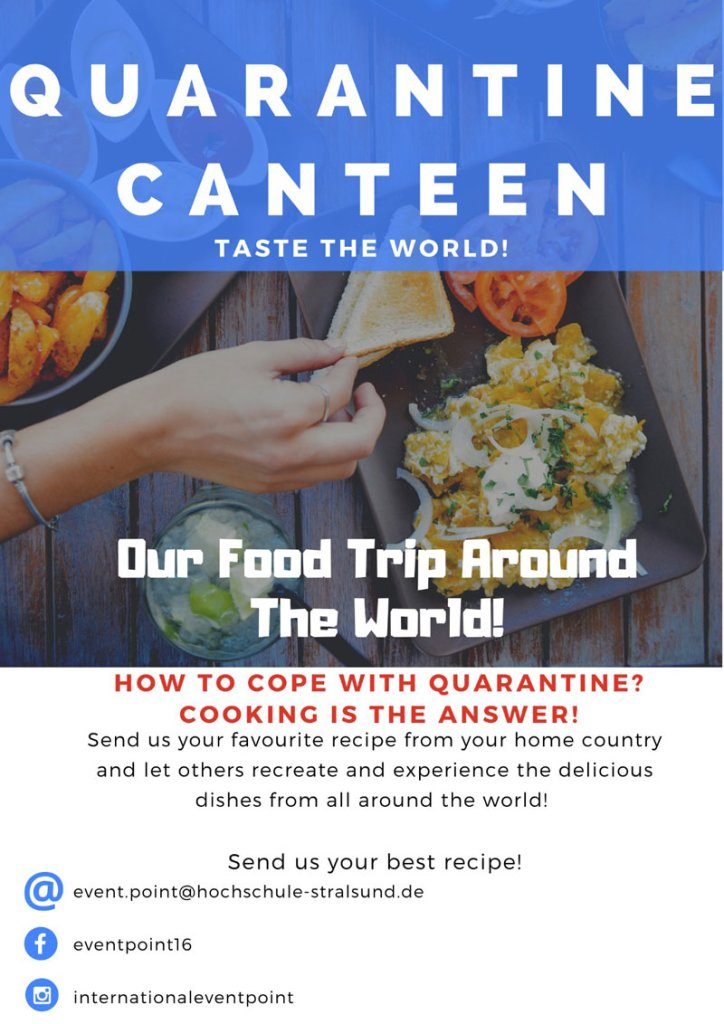 Plakat für Kochevent Quarantine Canteen – Taste the World!